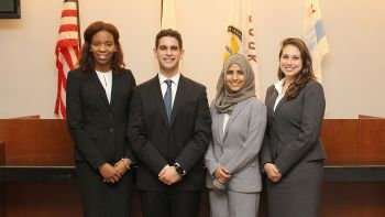 From left: Alexis Halsell '18, Jesse Pollans '18, Shahina Khan '18 and Kristen Farr Capizzi '18 finished in second place at the 2017 National Civil Trial Competition.