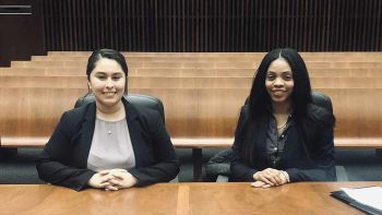 Andrea Mireles '20 (left) and Jewell Ewing '20 placed second in the Midwest regional tournament of the 2019 Thurgood Marshall Moot Court Competition and will advance to the national finals.