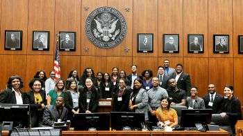 The 2019 PLUS Program scholars visited the Dirksen Federal Building to tour the courthouse and observe court proceedings.