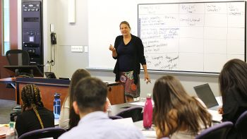 Professor Kari Johnson teaches Legal Writing to undergraduates in the PLUS program.