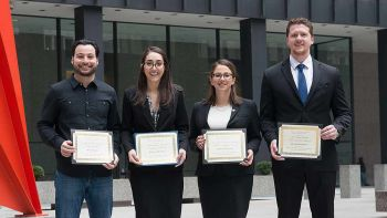 From left: Ralph L. Brill Award winner Jack Amaro '19, second-place winner Pauline Panayi '19, first-place winner Margaret Kamm '19 and Fay Clayton Award winner Blake Thompson '19 after the 2017 Ilana Diamond Rovner Appellate Advocacy Competition