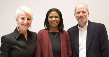 Professor Kimberly Bailey (center), pictured here with Illinois Tech Provost Frances Bronet and Dean Harold Krent, received the university's 2017 John W. Rowe University Excellence in Teaching Award.