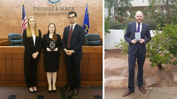 From left: Rebecca Quade '19, Alida Pecanin '18 and Javier Ortega Alvarez '19 placed second in the 2018 Frank A. Schreck Gaming Law Competition, with Rebecca Quade earning the competition's best oral advocate award. Taylor Brewer '19, who competed on another Chicago-Kent, was named the competition's second-place best oral advocate.