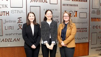 Breana Brill '21 (left) and Caitlin Sinclair '21 (right), pictured here with Professor Nancy Marder, have been awarded 2019 Justice John Paul Stevens Public Interest Fellowships.