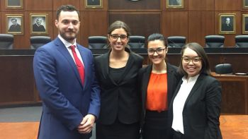 From left: Jonathon Dotson '19, Hannah Nisson '19, Farishta Ahmadi '19 and Aima Mori '19 will represent Chicago-Kent in the national finals of the 2017 Thomas Tang National Moot Court Competition.