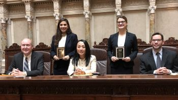 Noor Abdulmassih '20 (top left) and Gina Cesario '20 (top right) placed second in the central regional tournament of the 2018 Thomas Tang National Moot Court Competition and will advance to the national rounds in November.