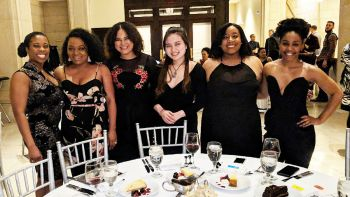 The Chicago-Kent team of Annisha Arnold '20 (front row, left), Qi Niu '18 (front row, right), Ashley Davidson '19 (center row, left) and India Burton '18 (center row, right) placed second at the 2018 Thurgood Marshall Mock Trial Competition's Midwest regional tournament. They are pictured here with their coaches Katrice Matthews '10 (back row, left) and Adella Deacon '11 (back row, right). Not pictured: Coach Janelle Dixon '11
