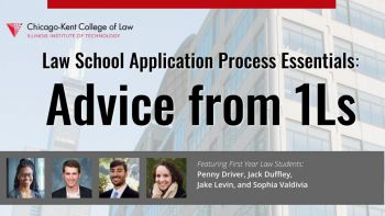 Webinar title slide for Law School Application Process Essentials: Advice from 1Ls