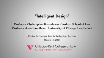 Intelligent Design book talk by Christopher Buccafusco and Jonathan Masur