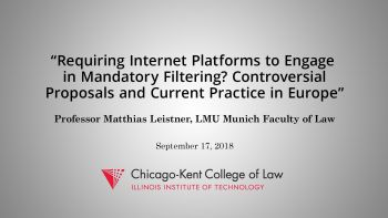 "Title slide: ""Requiring Internet Platforms to Engage in Mandatory Filtering? Controversial Proposals and Current Practice in Europe"""